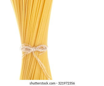 Long spaghetti raw isolated on white background with tape