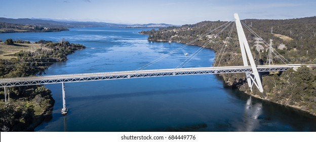 Long spanning Batman Bridge by the Tamar river near Sidmouth, Tasmania.