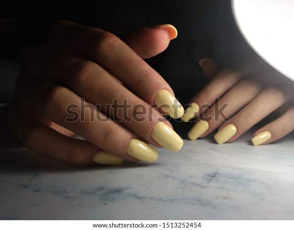 Long Square Nails Gel Polish Clean Stock Photo Edit Now