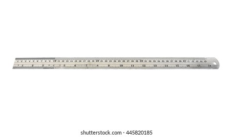 Long stainless steel ruler isolated on white background.Metal ruler