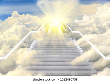 Long Staircase high way to heaven, Empty Stair steps along Cloud in Sky to Light of Hope or Sun. Concept Bright Future in Life. Stairs way lead up to heaven sky toward light, copy space - Shutterstock ID 1822490759