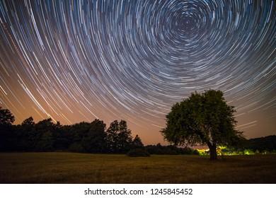 Long star trail in Visegrád, Hungary