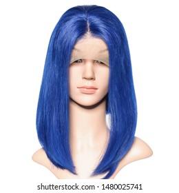 long straight blue human hair weaves lace bob wigs