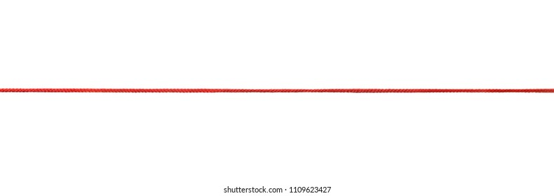 Long straight red rope isolated on white