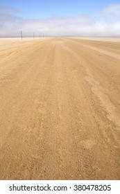 Long straight road in Namibia.