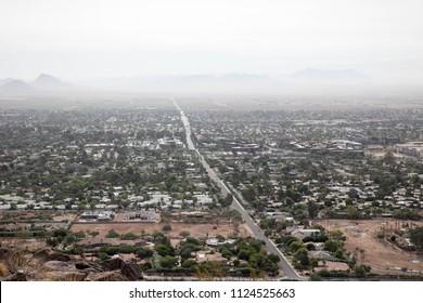 Long, straight road in Scottsdale, Arizona