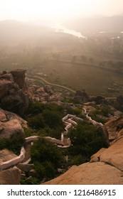 Long strais to monkey temple at sunrise Hampi India