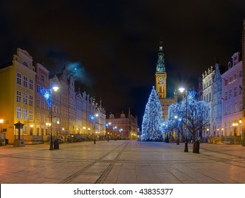 Long Street and City Hall at night city of Gdansk, Poland.