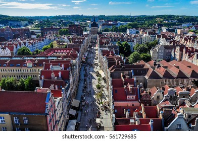 Long Street in the direction of the Golden Gate in Gdansk and panoramic cityscape, Poland