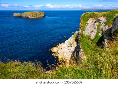 Long stretch of rugged coastline at the Giants Causeway in Northern Ireland