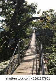 Long Suspension Bridge over Rock City