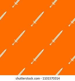 Long sword pattern repeat seamless in orange color for any design. geometric illustration