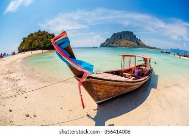 Long tail boat at the beach, Krabi, Thailand