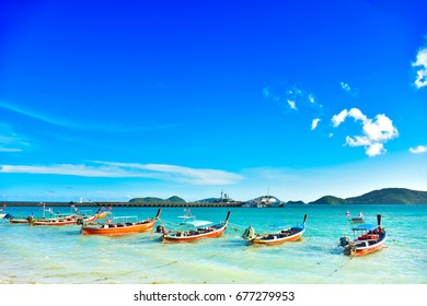 Long tail boat with blue sea and blue sky, Phuket island, Thailand