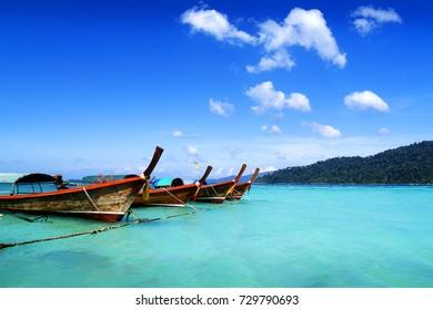 long tail boat ,in adaman sea