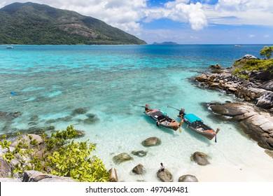 long tail boat Lipe island ,paradise island in Thailand