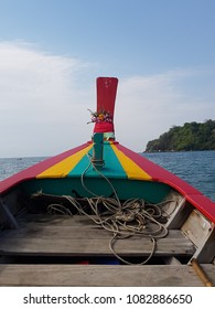 Long tail boat on Andaman sea background