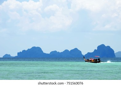 Long tail boat on the Andaman Sea, between Koh Kradan and the Trang coastline
