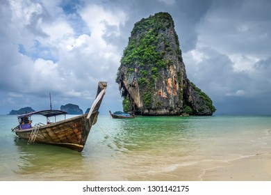 Long tail boat on Phra Nang Beach in Krabi, Thailand