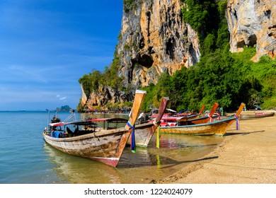 Long tail boat on tropical beach, Tonsai Bay, Railay Beach, Ao Nang, Krabi, Thailand