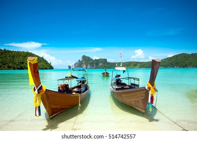 long tail boat at Phi Phi Island Krabi Thailand