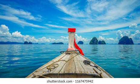 A long tail boat ride to Hong island on a clear sunny day.