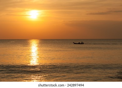 long tail boat and sunset Phangnga