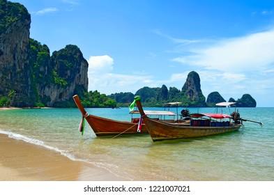 Long tail boats mooring at Tonsai beach between Ao Nang beach and Railay beach, Krabi province, Thailand