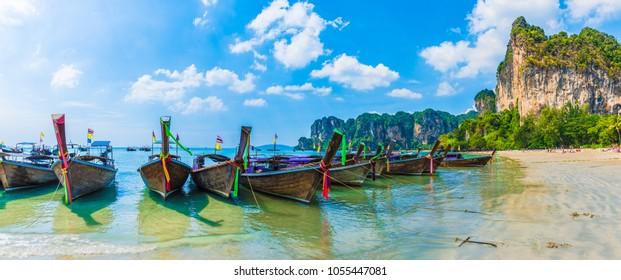 Long tail boats on Railay beach in Krabi region, Thailand