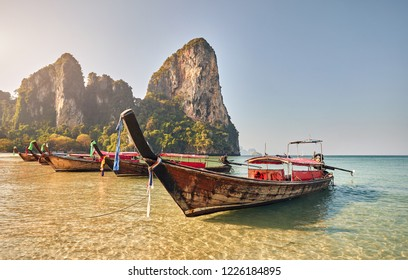 Long tail boats on tropical island at Krabi province, Thailand