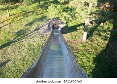 long and tall slippery slide at park