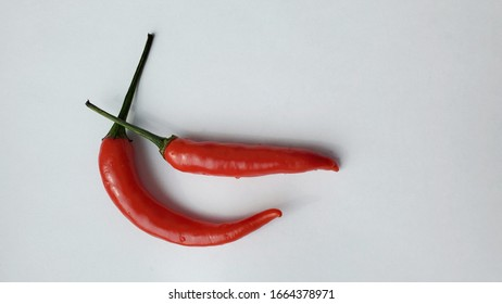 long thai chili on a white background