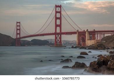 Long time exposure of Golden Gate Bridge after sunset