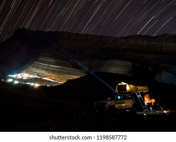 Long time night exposure while camping with a roof top tent on a 4WD in the beautiful Sultanate of Oman.