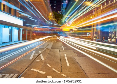 long traffic lighting tail in raod of hong kong in night cityscape