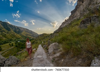 Long trail path to mountain cave city of Vardzia in Georgia Country