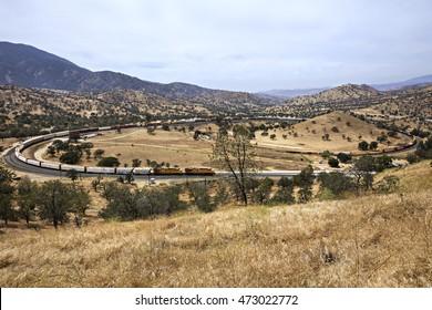 Long train on Tehachapi Loop, California.