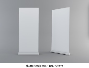 long vertical roll-up or banner mock-up with clipping path. 3D rendering