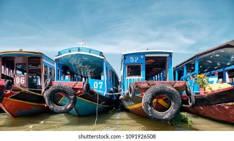 Long An / Vietnam - 02.22.2018: Mekong Delta River Boats