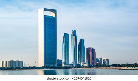 a long view of Abu Dhabi, United Arab Emirates from marina mall. etihad building, taken on 13/03/2020