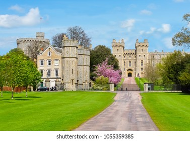 Long walk alley to Windsor castle in spring, London suburbs, UK