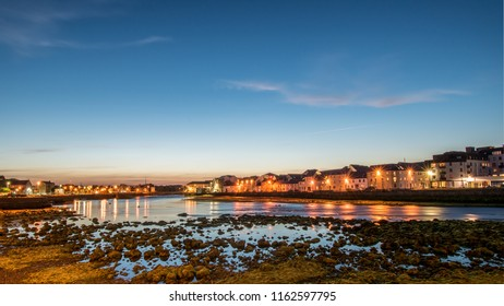 The Long Walk Galway, Ireland and the Claddagh just after sunset in the summer