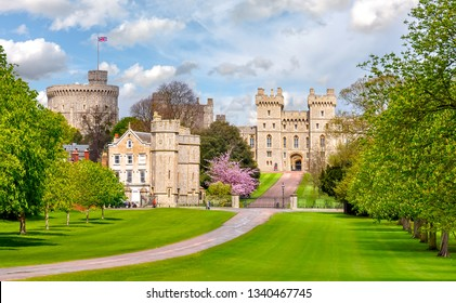 Long walk to Windsor castle in spring, London suburbs, UK