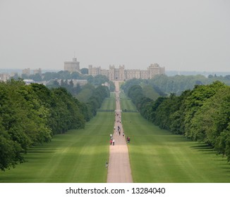 The Long Walk in Windsor Great Park with Windsor Castle in the background.