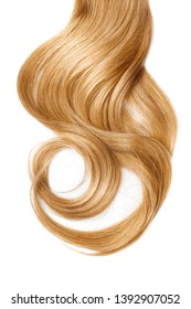 Long wavy blond hair isolated on white background. Ponytail
