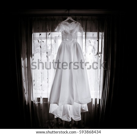 a2e9d35a6fa Long Wedding Dress Lace Top Hangs Stock Photo (Edit Now) 593868434 ...