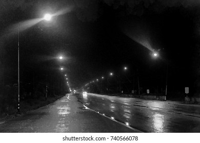 long wet road after rain and street light at night time - watercolor on canvas
