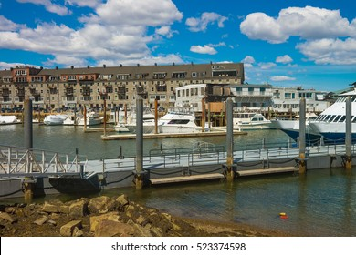 Long Wharf and Customhouse Block and yachts in Charles River in Boston, Massachusetts, the United States.