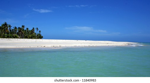Long white beach with Palms