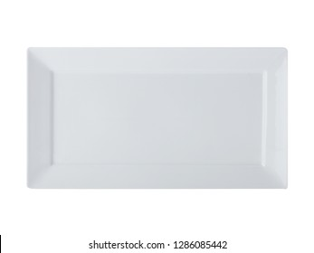 Long white blank empty rectangle platter isolated on white background. Top view.